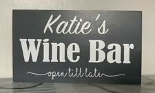 Personalised WINE BAR Garden Patio Plaque Sign Fun Wooden Grey - Any Name