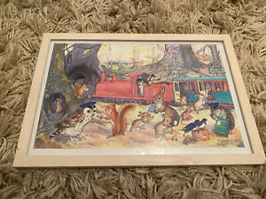 "Vintage 60's Picture Molly Brett Woodland Print 14"" x 9"" Warren Junction - Train"