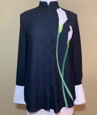 Victoria Beckham for Target Black Long Sleeve Button Up with Calla Lily Size Lg