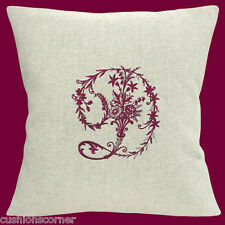 "Laura Ashley Linen Personalised Embroidered Victorian Letter 16"" Cushion Cover"