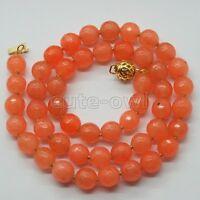 "New Arrival 8mm Orange Faceted Jade Gems Beads Necklace 17""-18"""