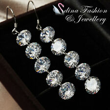 925 Sterling Silver 5 x 2.0 Carat Simulated Diamond Round Cut Dangle Earrings