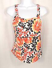 Lands End Tankini Top Size 8P Petite Swimsuit Bathing White Orange Brown Floral