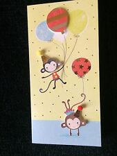 Birthday Card Child Kid Monkeys Balloons Fun Happy Yellow NEW Hallmark