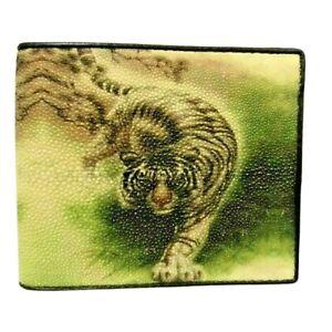 Tiger Pattern Genuine Stingray Wallets Skin Leather Bifold Men's Credit Cards