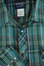 Wrangler Hombre Verde Azul Cuadros Mezcla de Poliéster Vaquero Camisas XL XL