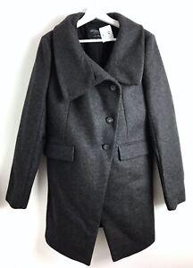 All Saints £250 Womens NWT Grey Wool Fuse Coat Size 14
