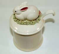 Fitz & Floyd 1981 Rabbit Bunny Spagetti Grass Sugar Bowl Pot Spoon Hand Painted
