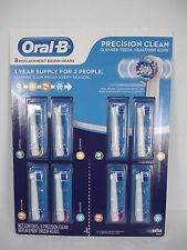 NEW ORAL-B PRECISION CLEAN 8 REPLACEMENT BRUSH HEAD 1 YEAR SUPPLY 610583 EB20-8