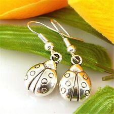 Pretty 925 Silver Hook & Tibetan Silver Ladybird Dangle Earrings. Birthday Gift