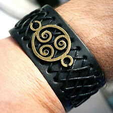 Steampunk BDSM jewelry mens leather bracelet triskele cuff submissive dominant