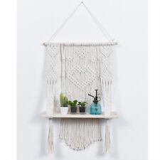 Wood Macrame Floating Hanging Shelf Organizer Hanger, Handmade Boho Home Decor