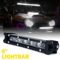 Xprite 8Inch Slim CREE Ultra LED Light Bar Offroad Driving Work Lamp 6000K Clear