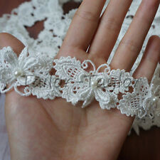 1/3/5 yd Butterfly Pearl Lace Trim Embroidered Dressmaking Applique Sewing Craft