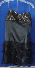 NWT Prom Party SEXY Black MINI Dress by Do Be STUDS on TOP & RUFFLES on bottom M