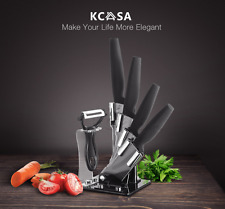 KCASA KC-KF6 5 Pieces Black Blade Ceramic Knife Set With Holder Multifunction