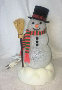 Vintage Avon Chilly Sam Light Up Snowman Broom multi color bulbs works