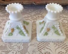 Wesrmoreland Milk Glass Hand Painted, Candle Holder. Holiday Paint Design