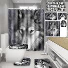 Wolf Shower Curtain Bath Mat Pedestal Carpet Rug Toilet Seat Cover Bathroom Mat