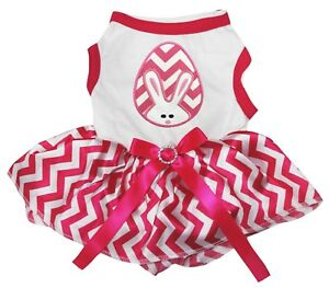 Chevron Easter Egg White Cotton Top Pink Chevron Tutu Pet Dog Puppy Dress