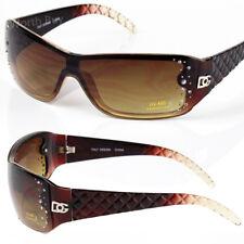 New DG Shield Designer Womens Rhinestones Sunglasses Shade Fashion Retro Brown
