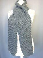 écharpe femme en laine crochet grosse maille grise fil argenté 170X19 CM