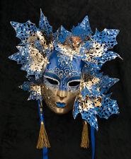 Masque de Venise Visage Magnolia Doré et Bleu-papier Mâché Métal -2056-GARPTE6
