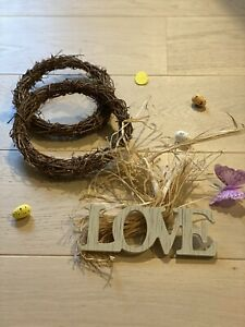 Natural Dry Branches Rattan Wreath for Easter Decoration DIY Garland Hanging