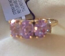 9K Y Gold, AAA Urucum, 3.5 Ct,  Kunzite Ring, Trilogy, Diamond, Size V