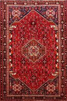 Traditional Hand-Knotted Abadeh RED Area Rug 5x8 Vintage Tribal Geometric Carpet