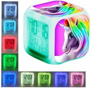 Einhorn Wecker Digital/LED Beleuchtung Kinder Einhornwecker Mädchen LCD Display