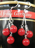 8MM 3 Beads RED CORAL STERLING SILVER DANGLE EARRINGS JEWELRY YL