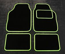 Universal Car Floor Mats in Black with Lime Green Trim