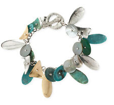 ROBERT LEE MORRIS Soho Patina Teardrop Charm Two-Tone Toggle Bracelet