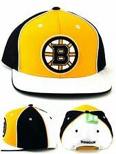Boston Bruins Reebok New Block PinWheel Black Gold White Era Snapback Hat Cap