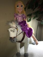 "DISNEY STORE 20"" Rapunzel And 13'' TANGLED WHITE MAXIMUS HORSE PLUSH"