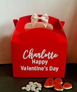 Valentines Day Gift Box, Personalised Name Red Present, Happy Valentine's Day