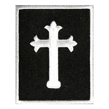 Embroidered Jesus Cross Black White Sew or Iron on Patch Biker Patch