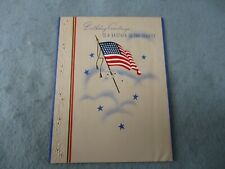 WWII Birthday Card Brother In Service From Sister with Note 48 Star Flag WW2