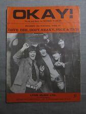 DAVE DEE, DOZY, BEAKY, MICK & TICH Okay! 1960's SHEET MUSIC!