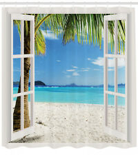 Tropical Shower Curtain Ocean Island and Palms Print for Bathroom 70 Inches Long