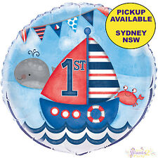 NAUTICAL BOYS 1ST BIRTHDAY PARTY SUPPLIES 45cm FOIL HELIUM BALLOON DECORATIONS