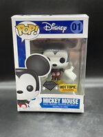 Funko Pop #01 Disney Mickey Mouse Diamond Hot Topic Exclusive! W/ Protector MINT
