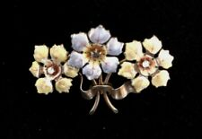 Art Nouveau Vintage Enamel Brooch with Diamonds