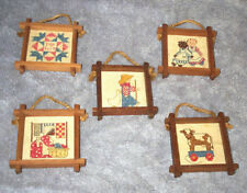 5 Miniature Wood-Framed Cross Stitch-COUNTRY DESIGNS! Quilt,Dolls,Cow,Boy,Woman