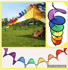 Rainbow Wind Spinner Curlie Hanging Twister Tent Camping 1.6m 🌈🌈 Uk Seller