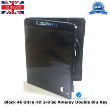 200 x Amaray Black 4k Ultra HD 14mm 2 Disc Double Blu Ray Replacement Case UHD