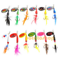 12pcs Pike Fishing Spinners Mixed Rooster Tail Lures Tackle Hooks Inshore Carp