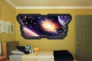 Space Planet Window Galaxy Stars Full Colour wall  sticker boys bedroom GA35-132
