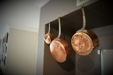 Set of 3 Graduating French Antique Copper Saucepans with Cast Iron Handles